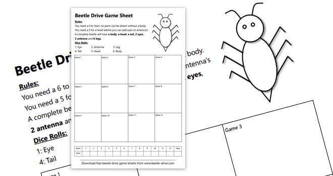 Free Beetle Drive Game Sheets
